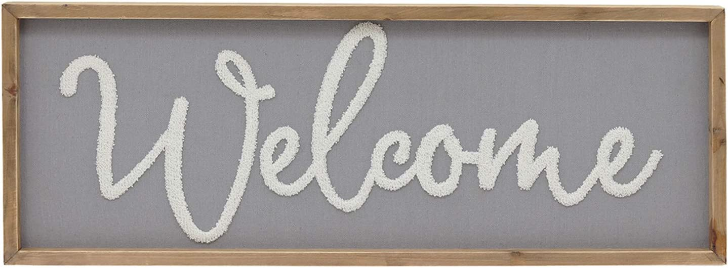 "Parisloft Welcome Wood Framed Wall Hanging Sign,Fabric Background Farmhouse Living Room Decor,31.6""x11.7"""