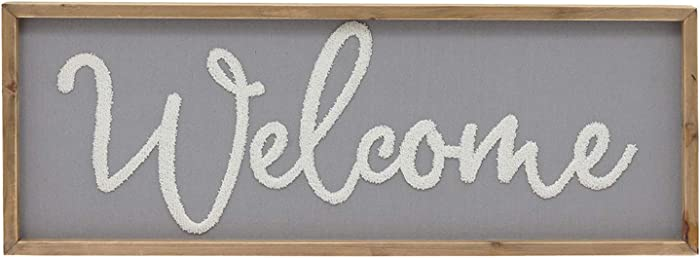 """Parisloft Welcome Wood Framed Wall Hanging Sign,Fabric Background Farmhouse Living Room Decor,31.6""""x11.7"""""""