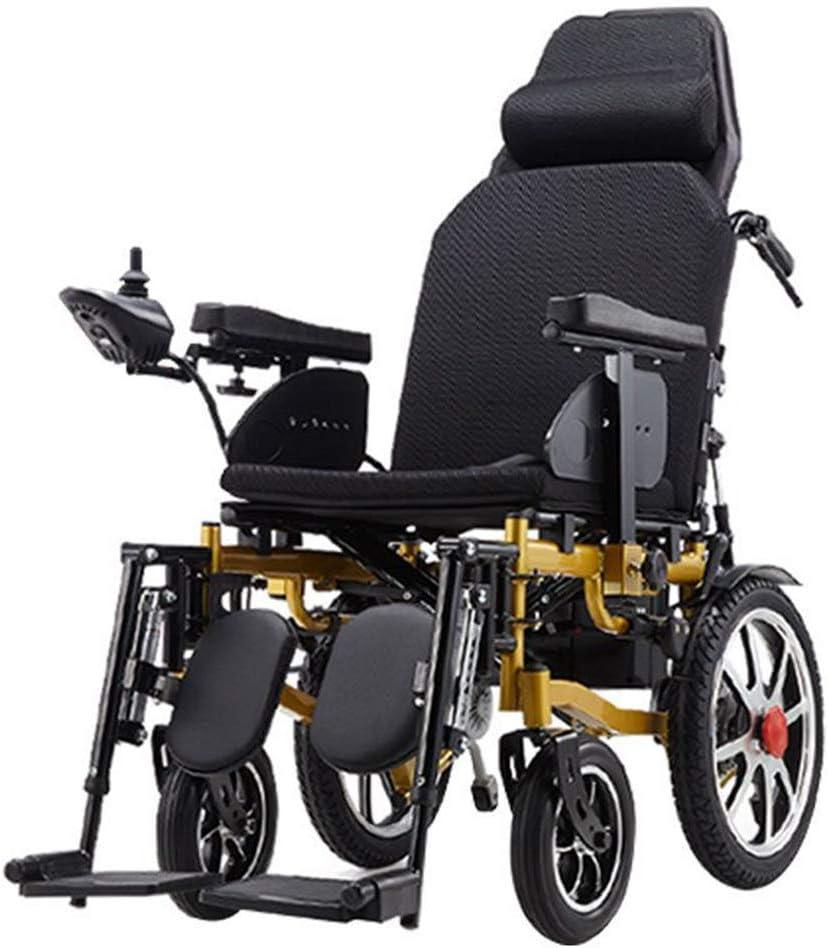ZQYR Wheelchair@ Silla de Ruedas eléctrica Plegable para discapacitados Carro Plegable Antiguo Deshabilitado Scooter Capacidad de acción compensatoria, Rango de Viaje: 15~20 km, Oro