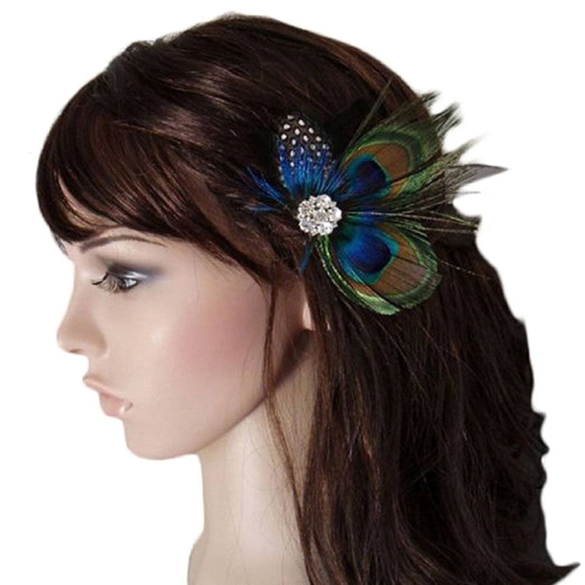 Handmade Boho Cute Peacock Feather Hair Clip Pin Headwear Headband with Rhinestone - Bohemian Bridal Wedding Dance Party Hairpin Hair Accessories for Women and Girls Numblartd