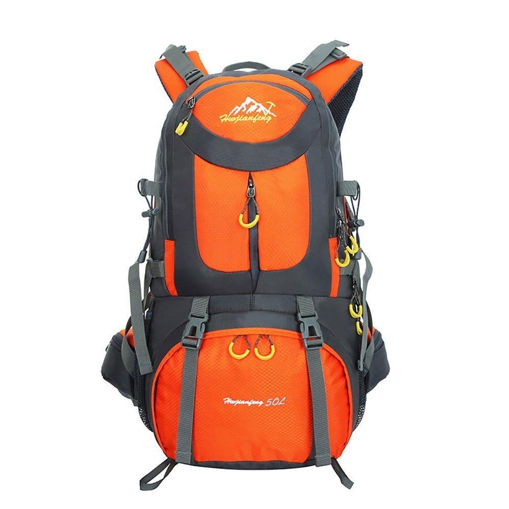 Gohyoハイキングバックパック50Lトレッキングリュックサック大容量軽量防水用キャンプクライミング旅行オレンジ B07L9VBGGC