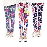 FIOKASO Girls Leggings, 3 Packs Toddler Girls Pants Great Stretch Printing Flower for Kids