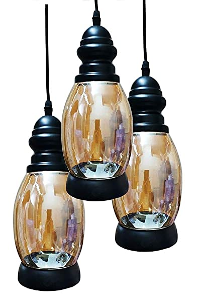 BrightLyts Glass Chandelier Hanging Ceiling Light with 3 E27 Bulbs (Black) Chandeliers at amazon