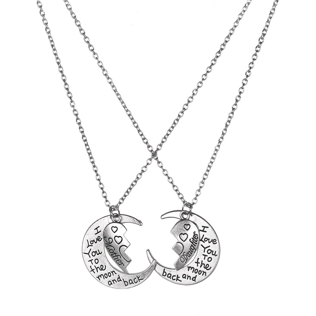 VWH 2pcs I Love You To The Moon And Back Family Pendant Necklace Choker Chain