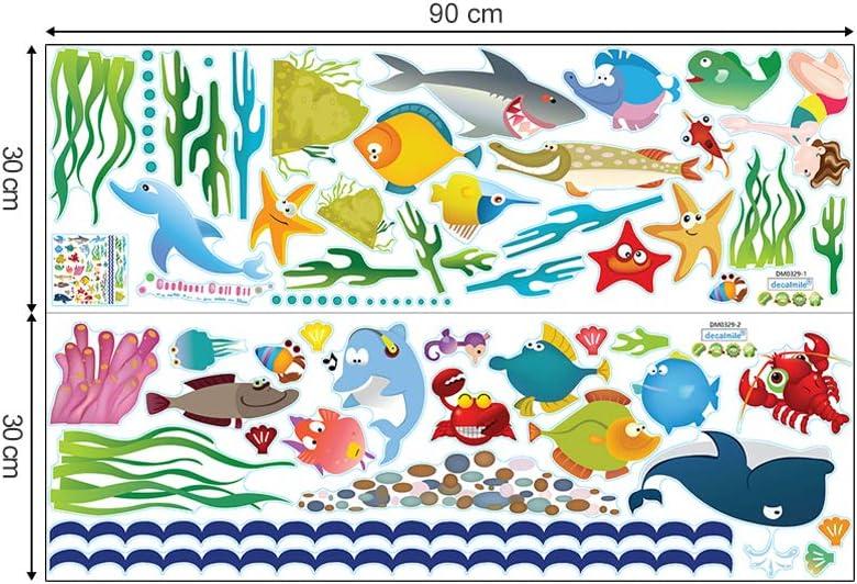 decalmile Stickers Muraux sous la Mer Autocollant D/écoratifs Oc/éan Monde sous Marin Poisson D/écoration Murale Chambre Enfants B/éb/é P/épini/ère Salle de Bain