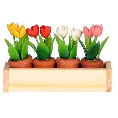 International Miniatures Dollhouse Miniature Window Box w/ Flower Pots: Toys & Games