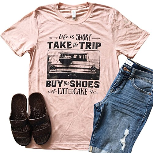 Letter Print Life Is Short Take The Trip Women's Casual T-Shirt Short Sleeve Top size M (Pink)