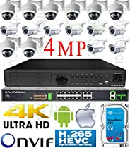 USG H.265 4MP Ultra 4K 16 Camera Security System PoE IP CCTV Kit: 8x 4MP IP 2.8-12mm Lens Dome + 8x 5-50mm Lens Bullet Cameras + 1x 5MP 24 Channel NVR + 1x 18 Port PoE Network Switch + 1x 4TB HDD