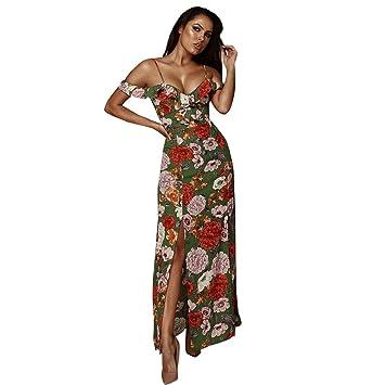 490862d25732 Junjie Hot Womens Boho Dress, Ladies Summer Sexy Sling Floral Print Off The  Shoulder Low V-Neck Maxi Dress, Women Girls High Waist Slit Ankle-Length  Long ...
