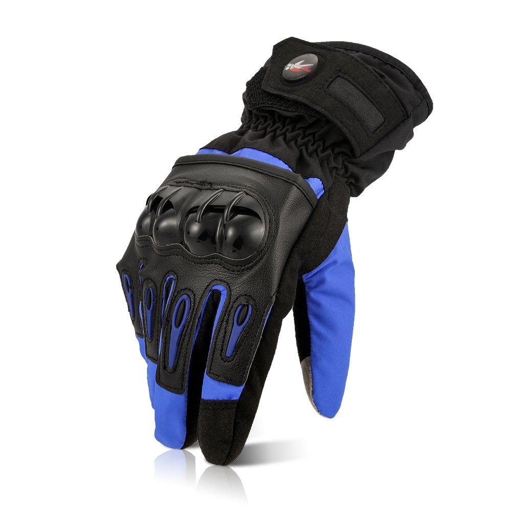 CARCHET Guanti Moto Invernali Autunnali, Impermeabili Guanti Invernali con Velluto Morbido Interno, Guanti da Moto CE con Protezione di Fibra Carbonio, Guanti Moto con Touch Screen, Nero Taglia XL Vespa