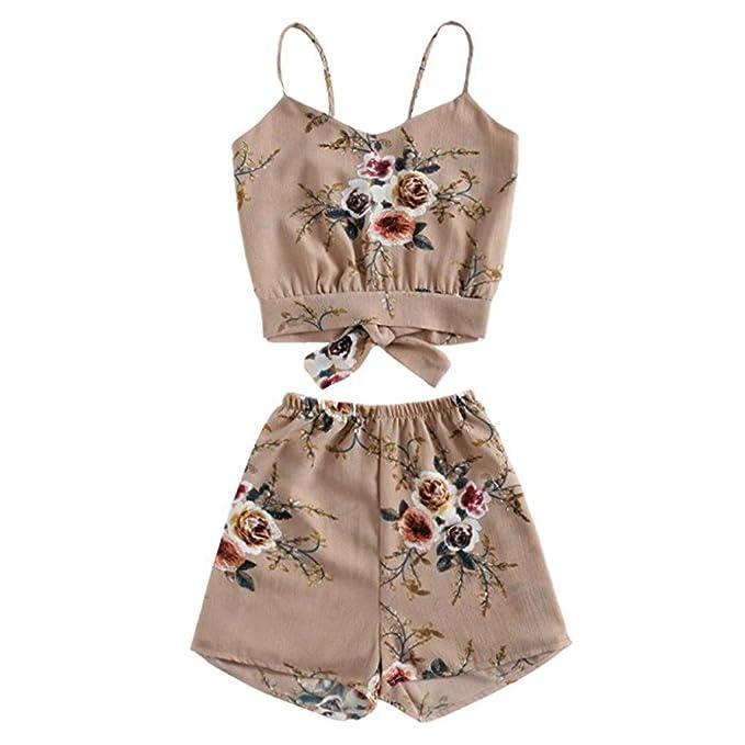 TUDUZ Shorts und Top Sets Damen Sommer Strand Zweiteiler Schulterfrei Sunflower Printed Beachwear Chiffon Boho Ärmellos Crop