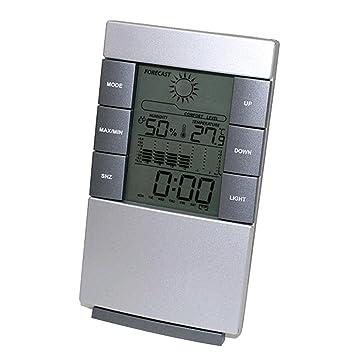 Previsión meteorológica Reloj flashcat Digital LCD temperatura medidor de humedad higrómetro habitación Interior reloj de termómetro: Amazon.es: Salud y ...
