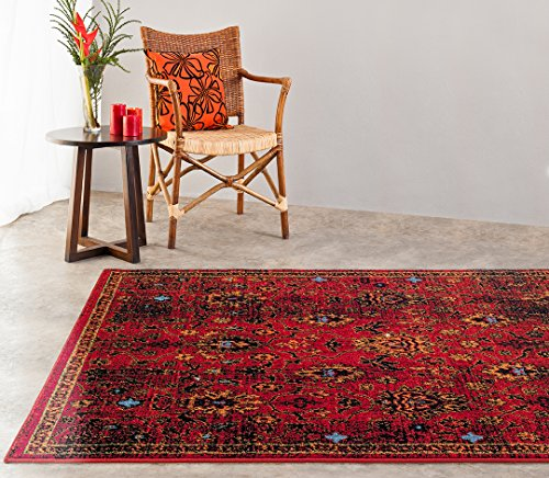 Turkish Carpet Designs (Adgo Siena Collection Modern Contemporary Live Red and Orange Design Jute Backed Area Rugs Tall Pile Height Well Spaced Soft and Fluffy Indoor Floor Rug (4' x 6'))