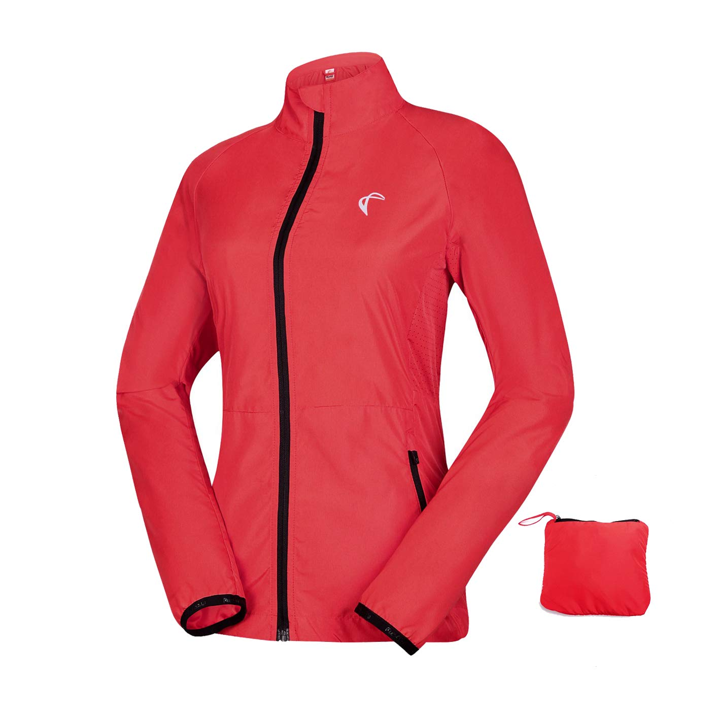 Women's Packable Windbreaker Jacket, Lightweight and Water Resistant, Active Cycling Running Skin Coat, Red L by Axen