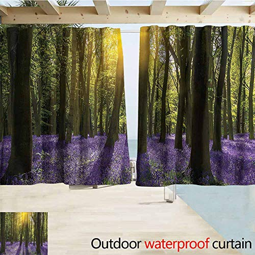 (MaryMunger Indoor/Outdoor Print Window Curtain Woodland Bluebell Blossoms Rod Pocket Curtain Panels W55x45L Inches)
