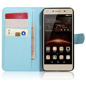 SMTR Huawei Y5II / Huawei Y5 2 Fundas de PU Cuero Flip, Standing Leather Wallet Case Cover Carcasa Funda con Ranura de Tarjeta Cierre Magnético y ...