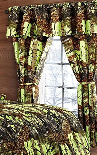 The Woods Lime Green Camouflage 5pc Curtain Set by Regal Comfort For Hunters Cabin or Rustic Lodge Teens Boys and Girls(Curtain, Lime Green)