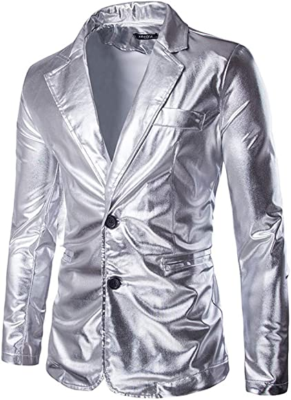 TANLANG-men Hot Silver Bright face Casual Suit Tuxedo Jacket Paisley Embroidered Suit Blazer Jacket for Dinner Party Coat