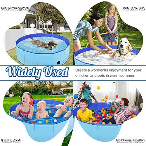 "DINKY 32"" Foldable Portable Baby Dog Pet Bath Swimming Pool Water Pond Pool Collapsible Hard Plastic Kiddie Pool Outdoor Dogs Cats Bathing Tub Bathtub Wash Tub for Dogs Cats and Kids"