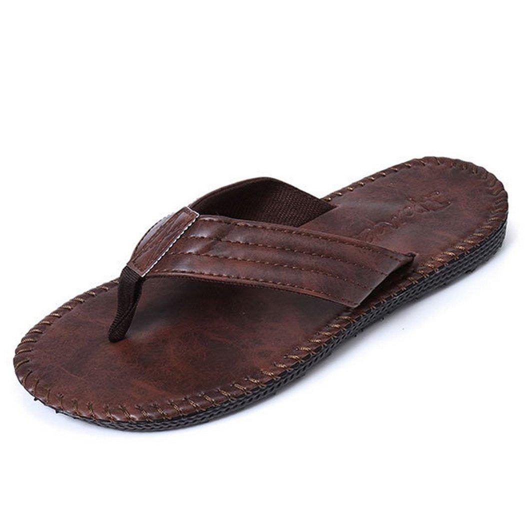 Men's Comfortable Flip Flops Simple Leather Summer Sandals Size 11 US Red Brown