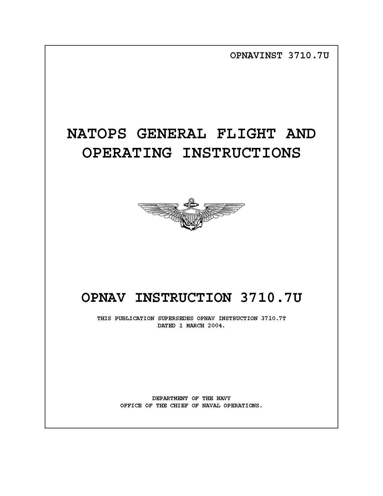 Natops General Flight And Operating Instructions Opnav Instruction
