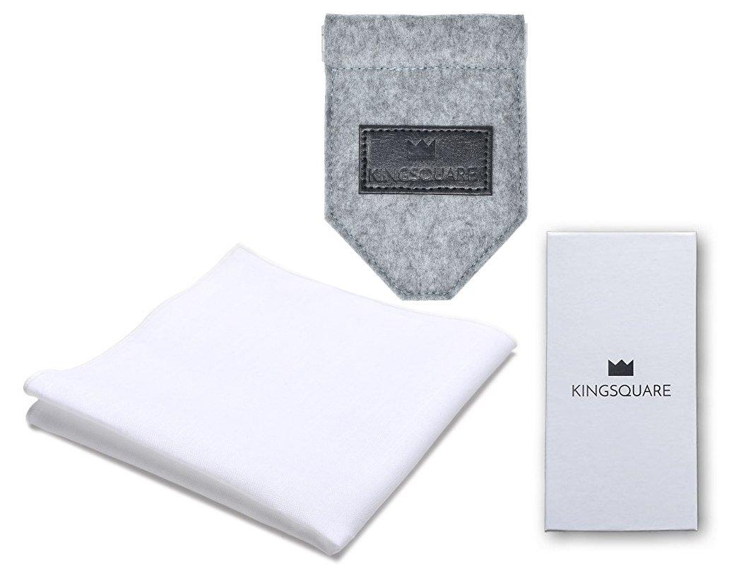 Kingsquare Gray Pocket Square Holder and White Cotton Pocket Square Set