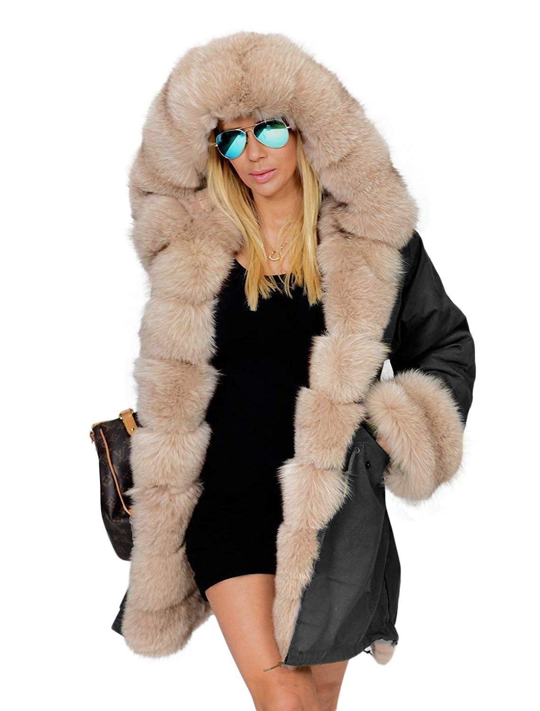 Zeagoo Womens Hooded Faux Fur Lined Warm Coats Parkas Anoraks Outwear Winter Long Jackets Black
