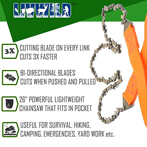"26"" Camping Pocket Chainsaw Cuts 3x Faster w/ Blade on Every Link Bonus Front Snap Carrying Case, the Wilderness Survival Guide eBook, and Mylar Emergency Blanket"