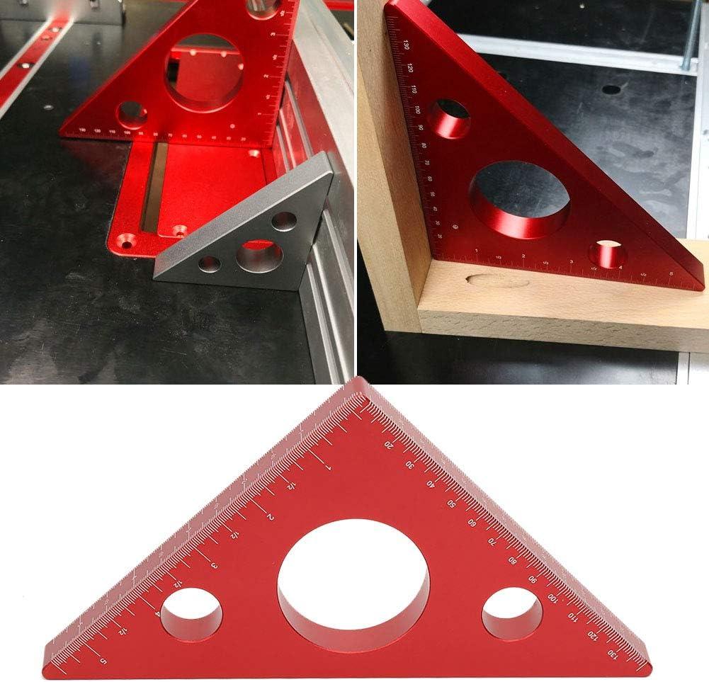 Righello a triangolo in metallo Falegnami Righello ad angolo retto in lega di alluminio quadrato Angolo 45 in lega di alluminio Righello a triangolo per lavorazione del legno Strumento di misurazione