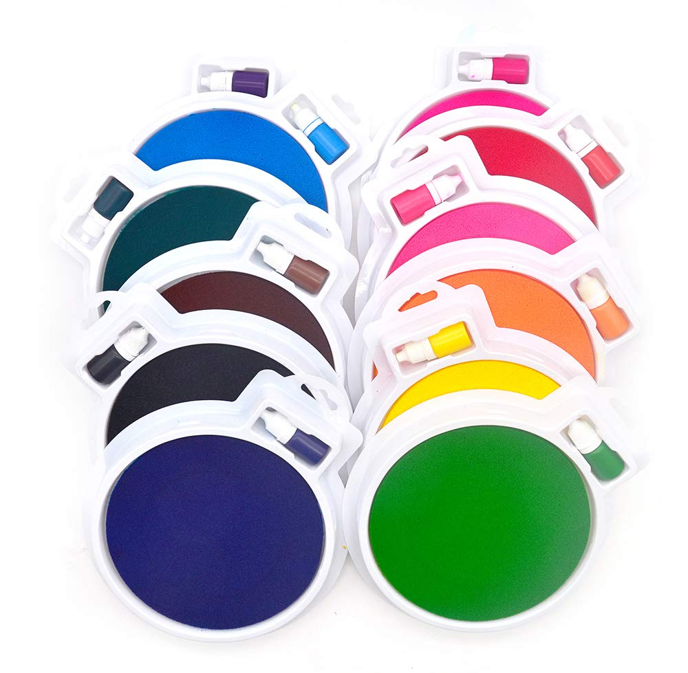 Washable Large Ink Pads Kit for Kids w/Additional Inks 12 Colors