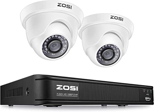 ZOSI H.265 1080p CCTV Camera Security System,Surveillance DVR Recorder 4 Channel and 2 x 2MP 1080p Weatherproof Dome Camera Outdoor Indoor, Remote Access, Motion Detection No Hard Drive