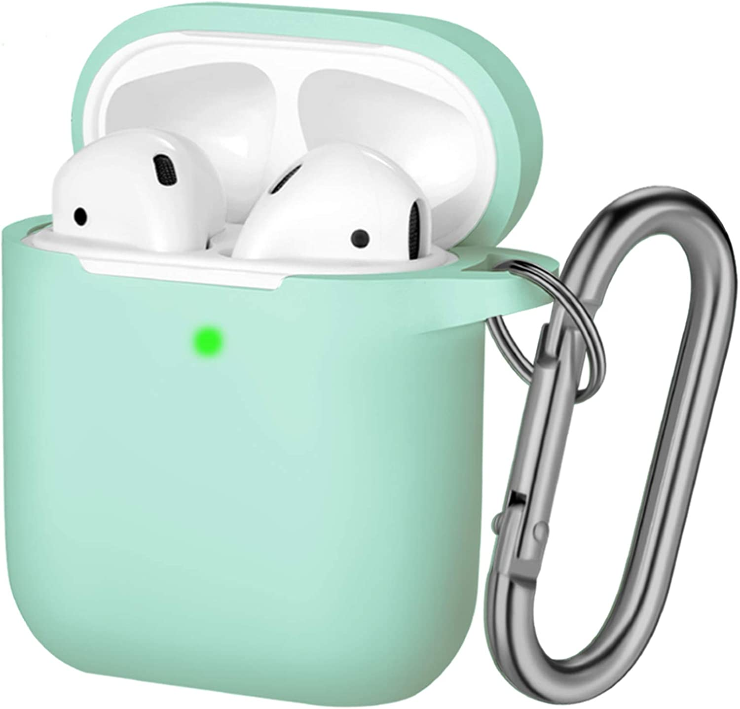 Hamile Compatible with AirPods Case [Front LED Visible] Soft Silicone Protective Cases Cover Skin Designed for Apple AirPod 2 & 1, Women Men, with Keychain (Mint Green)