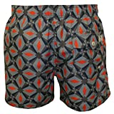 Ted Baker Oversized Geo Print Men's Swim Shorts, Navy/Orange Large