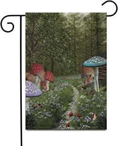 """Awowee 28""""x40"""" Garden Flag Forest Enchanted Nature Series Pathway in The Green Fantasy Outdoor Home Decor Double Sided Yard Flags Banner for Patio Lawn"""