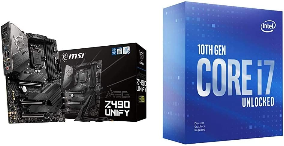 MSI MEG Z490 Unify ATX Gaming Motherboard + Intel Core i7-10700KF Desktop Processor 8 Cores up to 5.1 GHz Unlocked Without Processor Graphics LGA1200