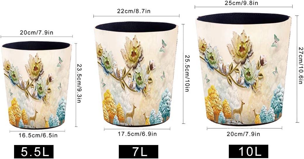 Bureau Feuilles 20 x 16.5 x 23.5cm conteneur de d/échets /étanche Salon Poubelle Corbeille /à Papier pour la Maison YOU339 5.5L Poubelle en Cuir