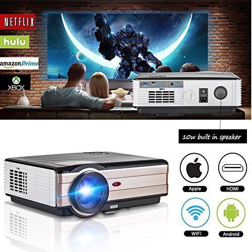 WiFi Projector Android 3500 Lumen Support WiFi Connection 1080p Full HD LED Projector Wireless with Speaker HDMI Cable Remote for Laptop Mac Phone iOS DVD TV Netflix Blue Ray Player