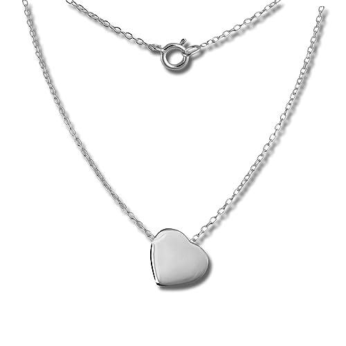 SilberDream Halskette Echt 925 Silber 45cm Damen Schmuck Herz silber  D1SDK8000J d6be4ce371