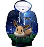 JUSTRHICE Unisex Anime Pokemon Hoodie Pikachu Cartoon Pullovers Jackets Sweatshirt Fleeces Costume