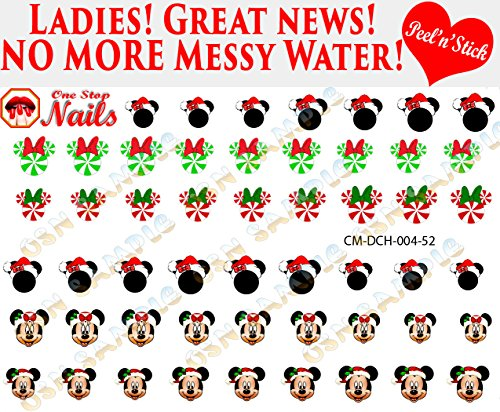 Christmas Disney with Mickey And Minnie Nail Art Decals. Clear Vinyl PEEL and STICK Nail Decals (NOT WATERSLIDE) by One Stop Nails