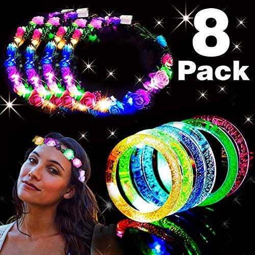 Kidaily Light Up Toys - 4 LED Flower Headpiece Flower Headdress 40 Lights, 4 LED Bracelets for Women Girls, Light Up Toys Glow in the Dark Party Favors Supplies Wedding (8 Pack)