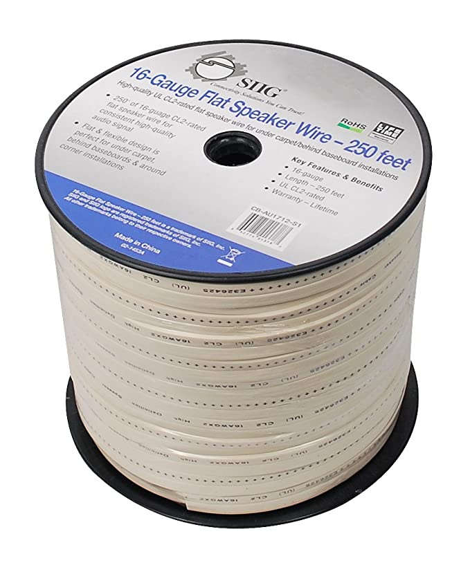 Amazon.com: SIIG 16-Gauge Flat Speaker Wire, 100 Feet (CB-AU1612-S1 ...