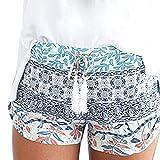 Defal Women Summer Boho Elastic Print Shorts Summer Juniors Casual High Waist Beach Shorts with Tie (Large, White)