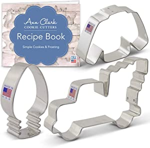 Ann Clark Cookie Cutters 3-Piece Christmas Trends Cookie Cutter Set with Recipe Booklet, Vintage Truck with Tree, Lightbulb and Ugly Sweater