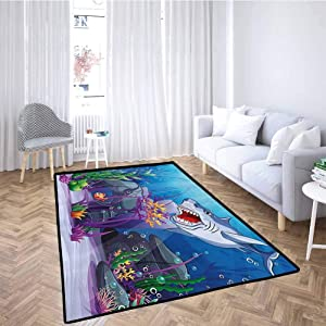Ocean Living Room Area Mat Rug Cartoon Style Underwater World Plants and Evil Shark Chasing Little Fish Illustration Machine Washable Multicolor 6'6x9'10 Feet