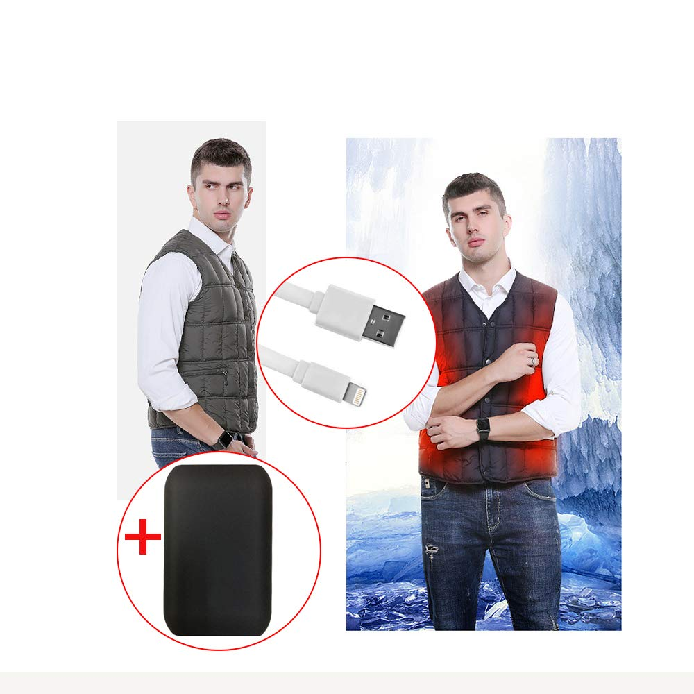 LH Beheizter Weste, sicherheitsintelligenter konstanter Temperaturheizungsanzug, 3 Modi USB-Schnittstelle Sicherheitsmaterial (Include A Power Bank),XXXL