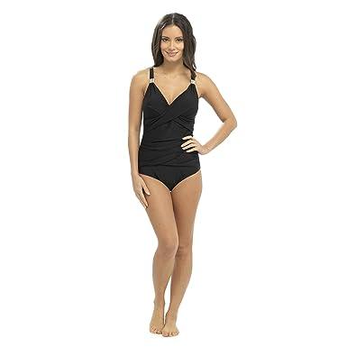 bb010093dd Tom Franks Tummy Control Swimsuit with Metal Trim Black 10: Amazon.co.uk:  Clothing