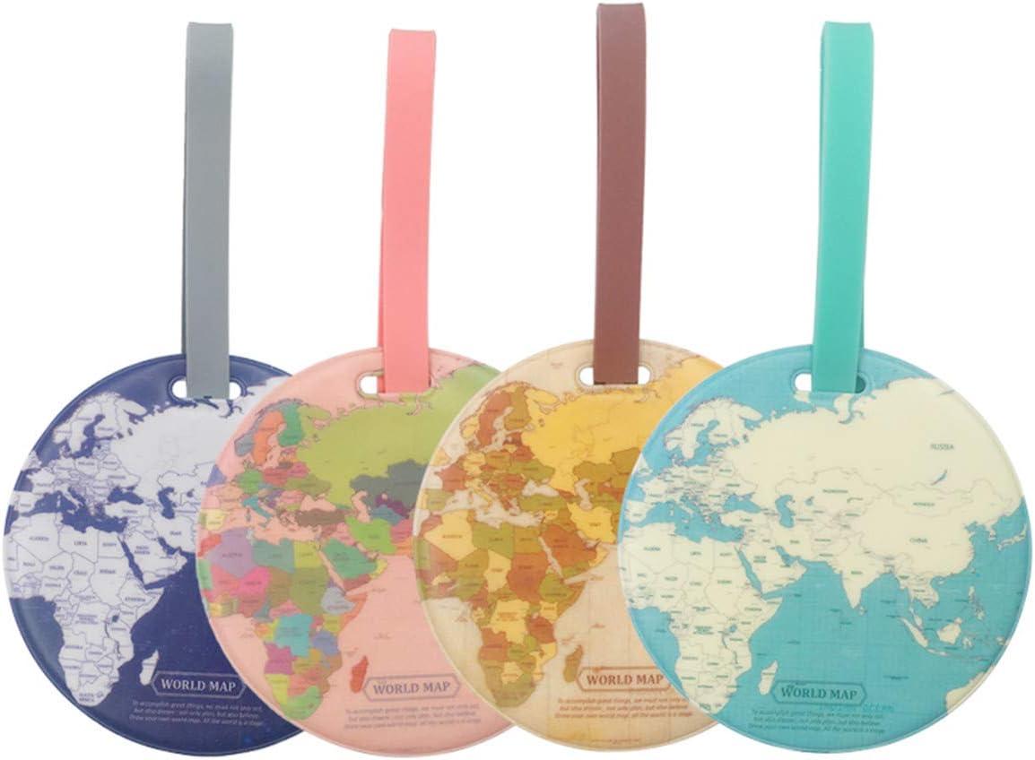 Etiquetas de viaje para equipaje, 4 unidades, etiqueta de identificación para maleta con mapa del mundo