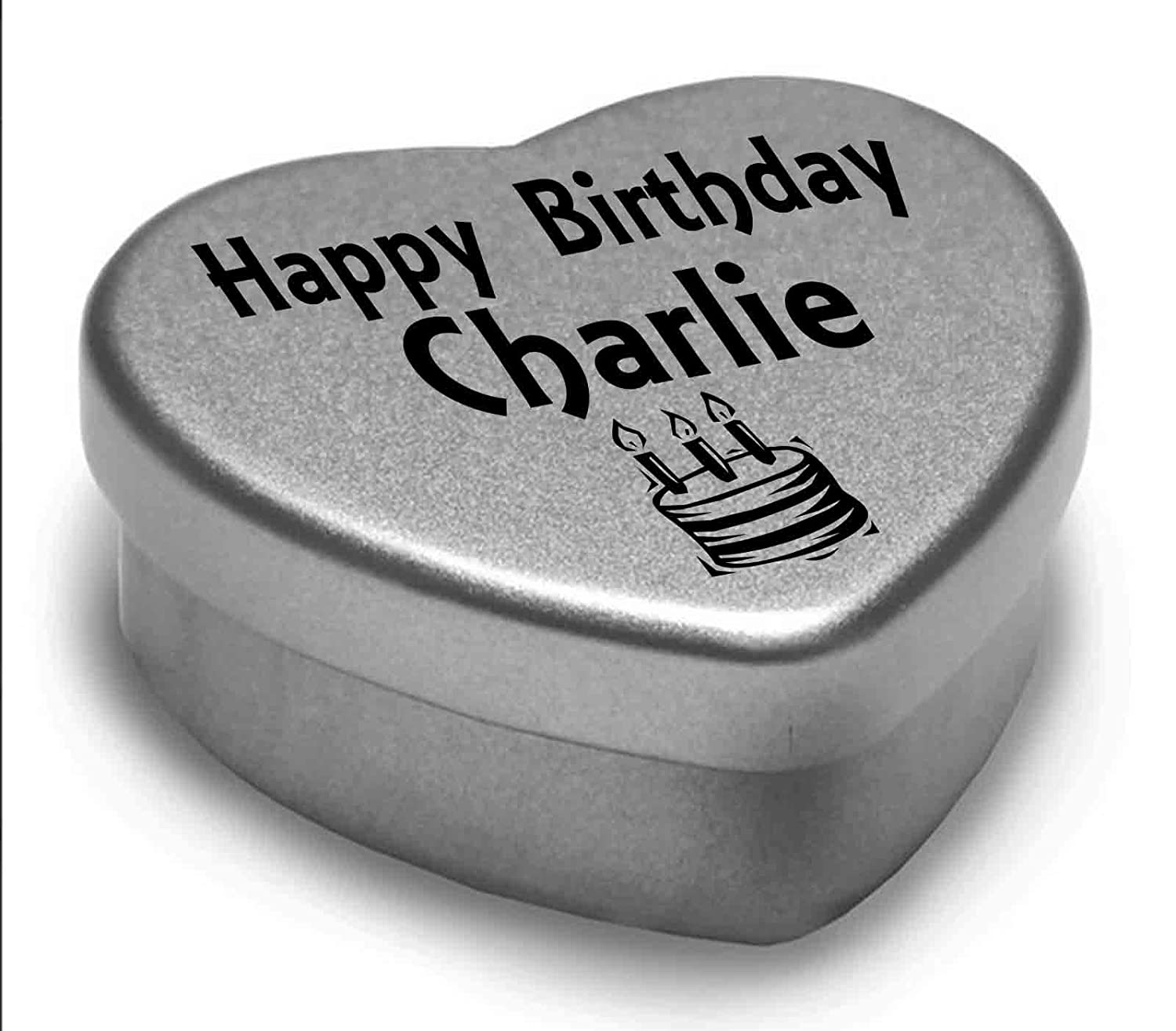 Happy Birthday Charlie Mini Heart Tin Gift Present For Charlie WIth Chocolates