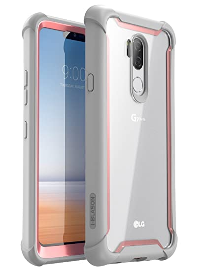 new styles eea48 9ccfb LG G7 Case, LG G7 ThinQ Case, i-Blason [Ares] Full-Body Rugged Clear Bumper  Case with Built-in Screen Protector for LG G7 (2018 Release) (Pink)